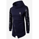 Mens Cool Fashion Solid Color Leather Patched Long Sleeve Slim Fit Casual Zip Up Longline Hoodie