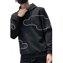 Mens Popular Fashion Unique Pattern Long Sleeve Loose Fit Casual Drawstring Hoodie