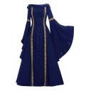 Trendy Vintage Medieval Retro Cosplay Costume Bell Sleeve Contrast Stitching Boat Neck A-Line Maxi Dress Evening Dress