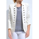 Hot Fashion Long Sleeve Double-Breasted  Embellished Open Front Slim Plain Blazer