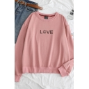 Simple LOVE Letter Print Long Sleeve Round Neck Pullover Sweatshirt