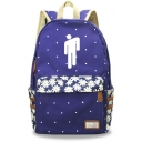 Stylish Floral Puppet Printed Students Fashion Canvas School Bag Backpack 30*14.5*42cm
