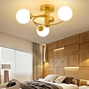 Modern Global Shade Semi-Flush Ceiling Light 3/5 Light Metal Flush Mount Light in Gold for Living Room