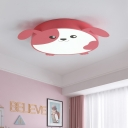 Cartoon Dog Flush Light Round Metal Shade LED Flushmount Light for Children