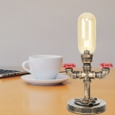 Antique Brass Pipe Accent Lamp Industrial Vintage Glass and Metal Plug in Table Lamps