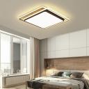 Wooden Squared Flush Mount Lighting Acrylic Shade LED Black and White Ceiling Lamp