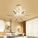 Acrylic Curved Semi Flush Light Modern Ceiling Light Fixture in White for Living Room