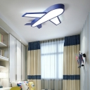 Navy Blue Aircraft Led Flush Ceiling Light Cartoon Style Metal Ceiling Light