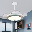Round Ceiling Lamp Acrylic 1 Light Rope Ceiling Light Fixtures with Fans for Bedroom and Dining Room