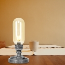 Farmhouse Style 1-Light Desk Lamp Iron and Glass Plug in Table Lamp for Dorm and Bedroom