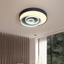 Black and White Circle Flush mount lighting Contemporary Acrylic Ceiling Light for Bedroom