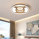 Minimalist Ring Ceiling Light with Frosted Diffuser Integrated Led Metal Flush Mount Light