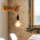 Open Bulb Wall Sconce Lamps Rustic Iron 1 Light Unique Wall Sconce Lighting with Rope for Hall