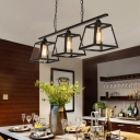 Pyramid Island Lighting Modern Iron 3 Heads Island-Light in Black for Dining Table