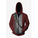Fashion Red Cosplay Costume Long Sleeve Zip Up Casual Hoodie