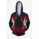Fashion 3D Red Printed Unisex Relaxed Fit Zip Up Hoodie