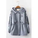 Girls Preppy Style Chic Floral Letter Embroidery Long Sleeve Hooded Zip Up Jacket