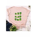 Funny tree Pattern Round Neck Short Sleeve Casual Loose Summer T-Shirt