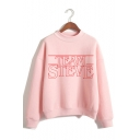 TEAM STEVE Letter Printed Mock Neck Long Sleeve Pullover Sweatshirt