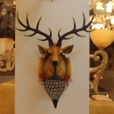 1 Light Stag Head Sconce Light with Clear Crystal Shade Loft Style Resin Wall Mount Light in Black