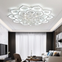 White Flower Flush Ceiling Light Contemporary Integrated Led Flush Lighting with Crystal Ball