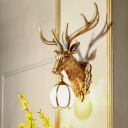 Vintage Stag Head Wall Mount Lighting with White Glass Globe Shade 1 Light Resin Wall Lamp