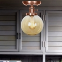Antique Copper Ball Semi Flush Mount Aged Metal 1 Head Semi-Flush with Glass Shade for Bathroom