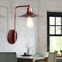 Rust Cone Wall Mounted Light Antique Iron 1 Light Wall Sconce Lighting for Coffee Shop
