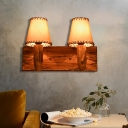 Cappuccino Shade Wall Mounted Light Country Fabric and Wood Wall Sconce Lighting for Coffee Shop