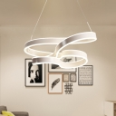White Twisting Pendant Lighting Modernism Acrylic Led Hanging Ceiling Light with Adjustable Cord