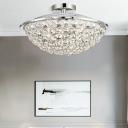 Crystal Bowl Semi Flush Mount Ceiling Fixture Modern Metal 4 Light Semi Flush Mount Light in Chrome for Bedroom