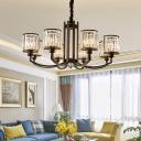 Matte Black Cylinder Pendant Light Fixture Modern Crystal 3/6/8 Light Pendant Chandelier for Indoor