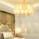 Round Shaded Hanging Lights Country Fabric and Crystal 5 Heads Lighting Fixture for Bedroom
