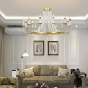 Crystal Beaded Chandelier Light Fixture Traditional Iron 5/8/12 Heads Hanging Chandelier for Restaurant