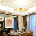 Trellis Drum Hanging Lights Contemporary Metal Crystal Glass Hanging Lamp in Gold for Dining Room
