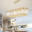 Gold Rectangular Island Light Modern Crystal Fringe Hanging Pendant Lights for Dining Room, Stainless Steel