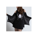 Halloween Giant Spider Print Round Neck Off Shoulder Long Sleeve Women Fashion Black Casual Mini Dress