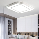 Contemporary Square Flush Ceiling Light Metal and Acrylic Led Flushmount Lighting with Diffuser