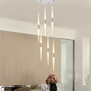 Acrylic Linear Cluster Pendant Light Modernism 5/6 Lights Hanging Ceiling Light in Gold