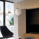 Spherical Hanging Ceiling Light with Closed Glass Shade Integrated Led Modern Pendant Lighting