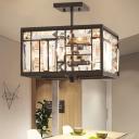 Brown Black Squared Semi Flush Mount Modern Crystal Metal 4 Heads Ceiling Lights for Bedroom