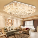 Sparkling Crystal Ceiling Lights Modern Flower Close to Ceiling Light in Chrome for Living Room