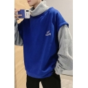 Mens New Fashion Letter Embroidery Long Sleeve Fake Two-Piece High Neck Sweater Hoodie