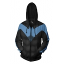 3D Black Long Sleeve Loose Fit Zip Up Cosplay Hoodie