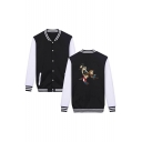 New Trendy Single Breasted Contrast Long Sleeve Striped Color Block Trim Cartoon Figure Print  Baseball Jacket