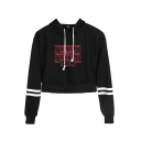 Letter SHOULD GO Print Stripe Long Sleeve Casual Crop Hoodie