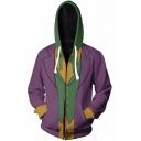 The Nightmare Before Christmas Jack Skellington 3D Cosplay Costume Color Block Sport Casual Purple Zip Up Hoodie