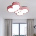 Girls Bedroom Ceiling Light with Butterfly Shaped Shade Modern Metal Led Flush Lighting