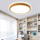 Round Bedroom Ceiling Light Fixture Wood Contemporary Flush Mount Ceiling Light in Natural