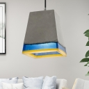 Gray and Blue Pyramid Hanging Light Fixture Modern Single Light Cement Pendant for Kitchen Island